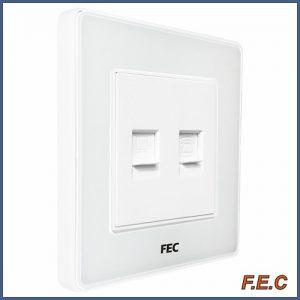پریز شبکه و تلفن قاب دور سفید / PS02