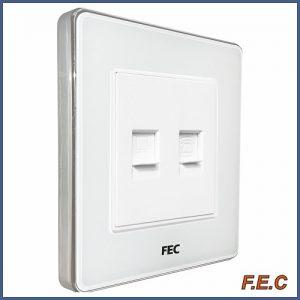 پریز شبکه و تلفن قاب دور کُرُوم / PS02